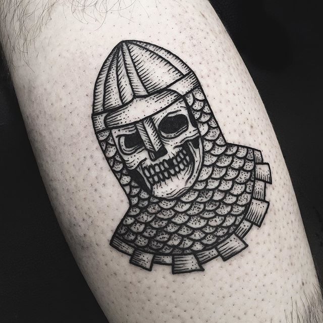 blackwork, skull tattoo