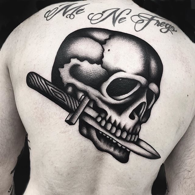 skull tattoo, back piece, big tattoo
