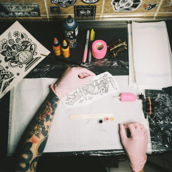Tattooer working desk